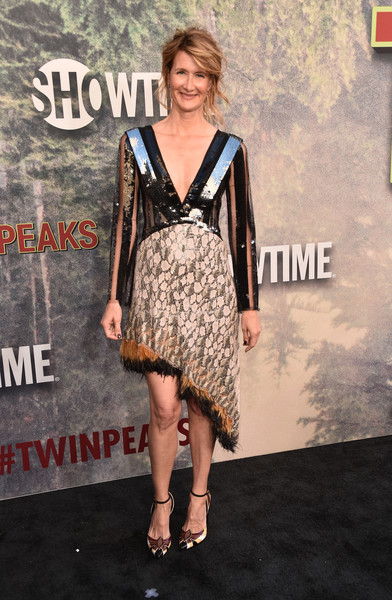 Laura Dern was in the mood for clashing patterns, teaming her mixed-media dress with a pair of geometric-print pumps.