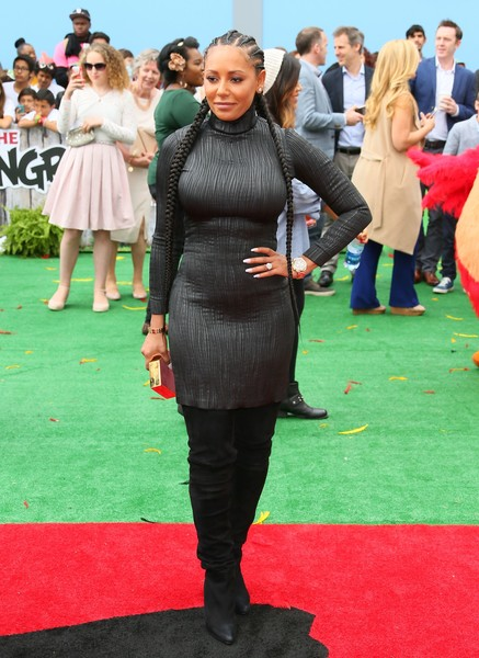 Melanie Brown was in curve-flaunting mode as usual in a gray turtleneck dress during the premiere of 'Angry Birds.'