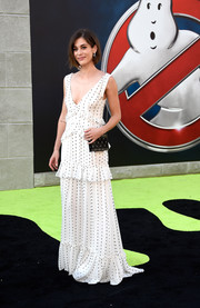 Lizzy Caplan chose a dotted ruffle maxi dress by Erdem for the premiere of 'Ghostbusters.'