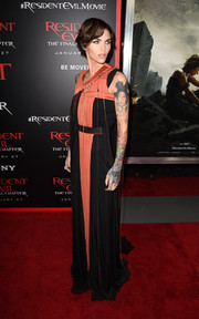 Ruby Rose went for modern glamour in an asymmetrical two-tone gown by Vionnet at the premiere of 'Resident Evil: The Final Chapter.'