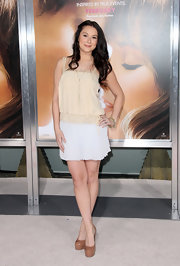 Alexa Vega accessorized her look with mocha colored platform pumps.