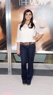 Rebecca Black belted her boot leg jeans with this wide woven belt at the 'Vow' premiere.