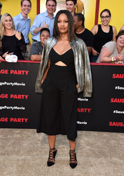 Garcelle Beauvais looked very trendy in a cropped black cutout jumpsuit by Michelle Mason at the premiere of 'Sausage Party.'