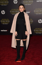 Maria Menounos was winter-chic in a beige wool coat teamed with a turtleneck LBD and thigh-high boots at the 'Star Wars: The Force Awakens' premiere.