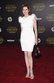 Geena Davis went for an ultra-glam finish with a pair of crystal-studded sandals.