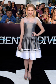 Claudia Lee cut a feminine silhouette in a silver and white mesh-panel dress by Georges Chakra during the 'Divergent' premiere.