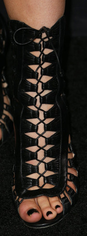 Kylie Jenner went to the Hollywood premiere of 'Ender's Game' wearing fierce black gladiator heels.