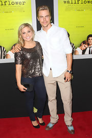 Shawn Johnson attended the premiere of 'The Perks of Being a Wallflower' looking all sparkly in her gold sequined blouse.