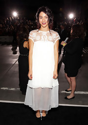 Fivel Stewart looked lovely in a white maxi dress with sheer mesh details at the 'Twilight Saga: Breaking Dawn - Part 2' premiere.