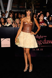 Judi Shekoni made a statement at the 'Twilight' premiere in a leather corset dress teamed with glittering accessories.