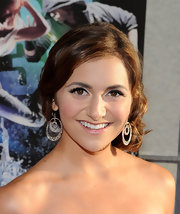 Alyson Stoner paired her elegant updo with diamond circle earrings.