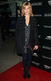 Georgia King looked warm and stylish in an embellished navy wool coat when she attended the premiere of 'The Truth About Emanuel.'