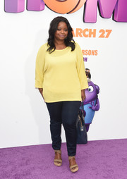 Octavia Spencer was casual and breezy in a yellow boatneck sweater and jeans during the premiere of 'Home.'