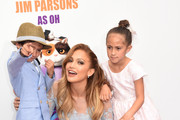 Jennifer Lopez (C) with daughter Emme (R) and son Max attend the premiere of  Twentieth Century Fox And Dreamworks Animation's