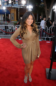 Jenna dazzled in a bronze dress at the premiere of 'Glee The 3D Concert Movie.' She paired her sparkly look with a green cocktail ring.