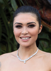 Daniella Pineda wore her hair in a classic ponytail at the premiere of 'Jurassic World: Fallen Kingdom.'