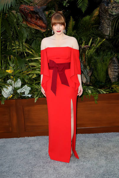 Bryce Dallas Howard charmed in a red off-the-shoulder column dress by Roland Mouret at the premiere of 'Jurassic World: Fallen Kingdom.'