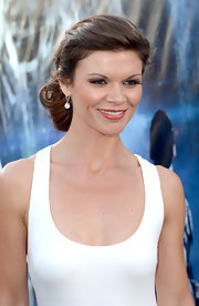 Danielle Vasinova attended the LA 'Battleship' premiere wearing her hair in a loose chignon.