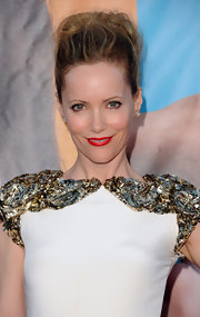Leslie Mann wore a stunning Marchesa dress to the premiere of 'The Change-Up.' She finished off the look with a tousled updo and bright red lips.