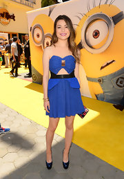 Miranda Cosgrove chose a flirty cobalt dress with a bow-shaped bodice and a tummy cutout for the premiere of 'Despicable Me 2.'