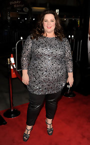 At the 'Identity Theft' premiere in LA, Melissa McCarthy paired a glittery top with shiny leather pants.
