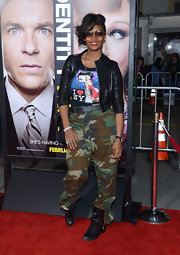 Toccara Jones was dressed rebel-chic wearing camouflage cargo pants and a leather jacket.
