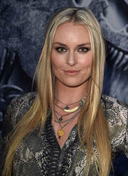 Lindsey Vonn showed off sleek straight locks at the premiere of 'Jurassic World.'