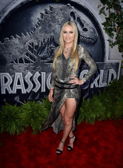 Lindsey Vonn showed off her incredibly toned pins in a slit-to-the-hip snakeskin-print dress during the 'Jurassic World' premiere.
