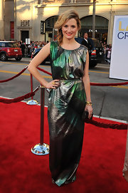 Grace complemented her abstract-print green gown with a faceted box clutch at the 'Larry Crowne' premiere.