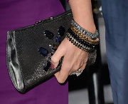 Shannon Tweed chose a silver snap-clutch with multi-colored beads for her colorful red carpet look.