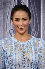 Paula Patton styled her hair into a braided updo for the premiere of 'Warcraft.'