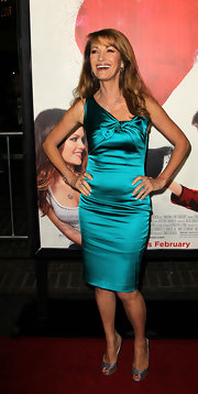 "Jane Seymour glimmered at the premiere of ""Waiting for Forever"" in glittery silver platform peep toes."