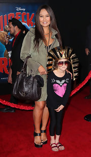 Tia Carrere carried a stylish black leather tote when she attended the premiere of 'Wreck-It Ralph.'