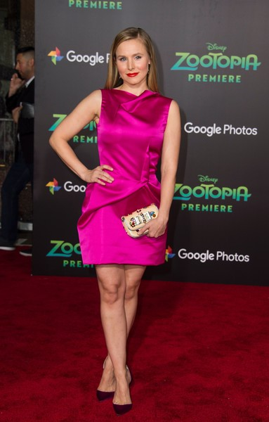 Kristen Bell polished off her look with a beaded clutch, also by Christian Louboutin.