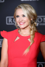 Emily Osment looked fetching with her loose fishtail braid at the premiere of 'Rogue One: A Star Wars Story.'