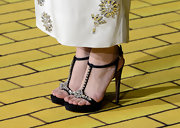 Michelle Williams opted for black strappy sandals with crystal embellishments for her red carpet look at the the premiere of 'Oz.'