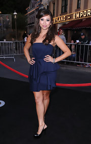 Cheryl Burke kept her look classic with black patent slingback platforms.
