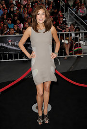 Teri Hatcher added glamour to her red carpet look with black crystal-embellished suede and mesh Quinze sandals.