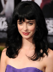 Krysten Ritter showed off her shoulder cut waves and blunt cut bangs.
