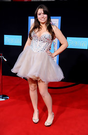 Sophie Simmons stepped out at the movie premiere of 'Prom' in a bejeweled party dress with a tutu skirt.