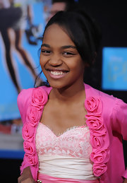 China Anne McClain had her hair tied up to match her prom outfit during the premiere of 'Prom.'