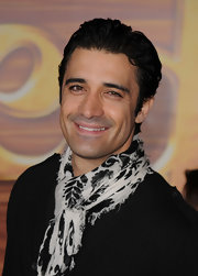 A monochrome print scarf added a certain flair to Gilles Marini's look.