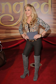Adrienne Maloof watched the premiere of 'Tangled' wearing killer gray knee-high boots.