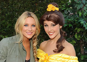 Stephanie Pratt rocked on on trend side braid while attending the premiere of Beauty and The Beast'.