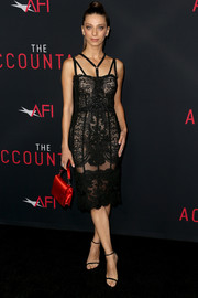 Angela Sarafyan kept the sex appeal coming with a pair of barely-there heels by Stuart Weitzman.