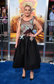 Elisabeth Rohm was prom-chic in a Jovani fit-and-flare dress with a sheer, embroidered bodice at the premiere of 'CHiPS.'