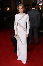 Mireille wore a white long-sleeve dress with silver trimmed cutout details while at the 'Gangster Squad' premiere.
