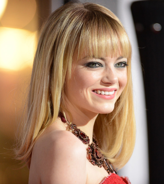 More Pics of Emma Stone Medium Straight Cut with Bangs (2 of 48) - Emma Stone Lookbook - StyleBistro