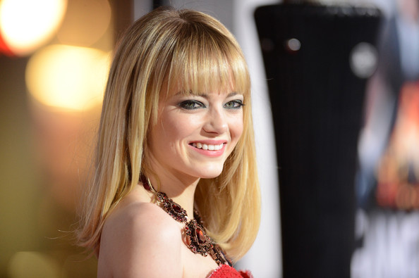 More Pics of Emma Stone Medium Straight Cut with Bangs (4 of 48) - Emma Stone Lookbook - StyleBistro