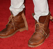 Sterling Beaumon kept his red carpet look super casual and trendy with these undone leather lace-up boots.